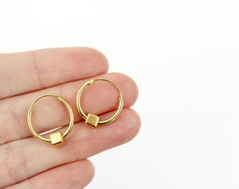Small gold hoops with little gold cubes, geometric jewellery, geometric earrings, stocking filler earrings, stocking filler jewellery