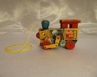 Fisher Price Puffy Engine #444 Wood Pull Toy-1951 Vintage Train Engine Cutie!