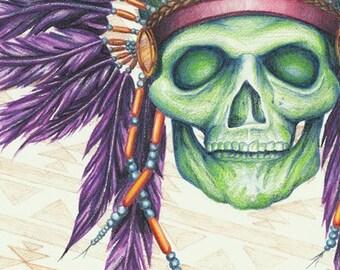 Art Print, Skull Print, Native American, Native American Headdress, Original Art Print, Colorful Skull, Feather Art, Feather Print, Skull