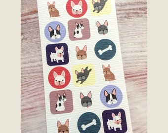 French Bulldog Stickers from Japan - Traditional Textured Paper
