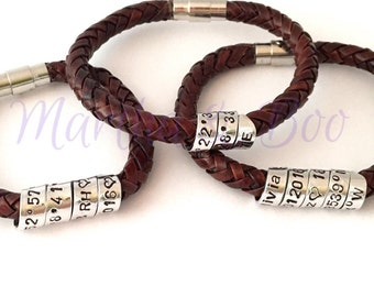 Custom men's leather bracelet, father's day gift, coordinates jewellery, secret message, woven leather, spiral jewelry, handstamped, couples