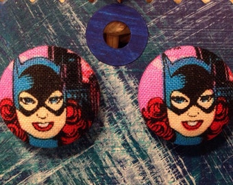 Batgirl Earrings, covered button earrings, comic book fabric