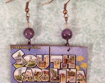 Up-cycled South Carolina Earrings, decoupage post card earrings, SC