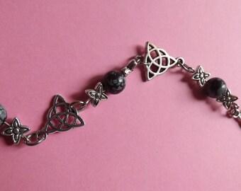 Celtic Triquetra and Obsidian snowflake bracelet