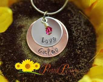 Stacked Disc Necklace - Personalized Mother or Grandmother Necklace with Birthstone Crystal - Mother's Day Gift - Custom Name Jewelry