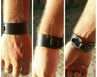 Leather cuff, mens bracelet, black wristband, bangle, handmade jewelry, Jewellery, fashion, men accessories, gift