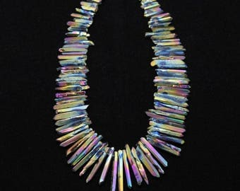 15.5 inches of strand,Approx 88pcs,Rough Mystic Titanium Rainbow Crystal Point Beads,Top Drilled Raw Quartz Spike/Sticks Beads,4-6x20-36mm