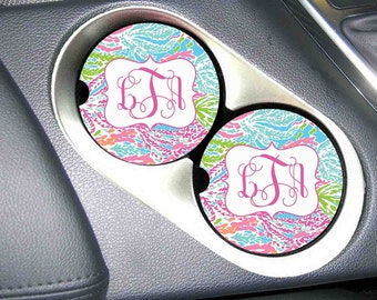 Car Coaster Monogrammed , Personalized Car Coaster , Monogram Car Coaster , Lilly Pulitzer Inspired , Matches License Plates and Frames