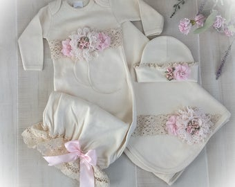 Newborn Girl Coming Home Outfit, Newborn Girl Gown, Ivory and Pink Coming Home Outfit, Baby Girl Take Home Outfit, Newborn Girl Layette