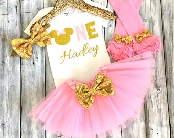 Pink and gold Minnie Mouse 1st birthday outfit, minnie first birthday outfit, pink gold Minnie, pink and gold Minnie Mouse birthday, gold