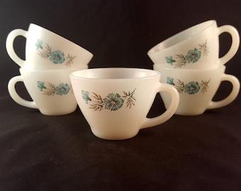 Flowered Fire King Mugs - Set of 5