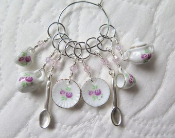 Stitch Markers Knitting Beaded Stitch Markers Porcelain Tea Set