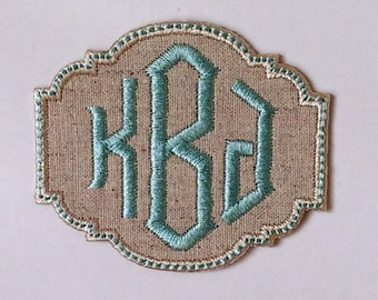 Iron on Monogram Patch/ Diamond Font/ CUSTOM COLORS/Iron-On Applique/Iron On Patch/Backpack Patch/Personalized Patch/Embroidered Patch