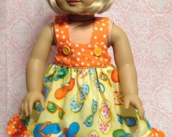 "Doll Dress in summery fabric  with contrasting ruffle- fits 18"" dolls like American Girl"