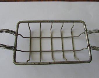Vintage Metal Wire Soap Dish  Spring Handles