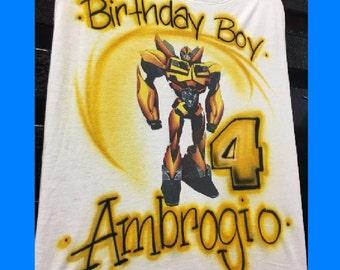 Transformer Birthday Shirt, Airbrush t shirt, Transformer birthday, transformer invitations, transformer party, Bumblebee shirt,