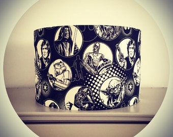 Star Wars LAMPSHADE - Drum shade - black & white Star Wars fabric - ideal for kids / children / boys bedroom