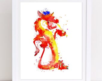 70% Mulan Mushu Poster Disney Mushu Watercolor Poster Mushu Dragon Print Disney Art Disney watercolor disney watercolor nursery printable
