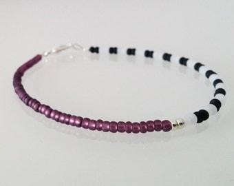 Minimal bracelet | black & white stripes with violett - silver plated clasp - minimalistic jewelry
