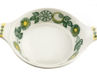 Vintage Scandinavian casserole -  Stavangerflint green and yellow floral - Norway