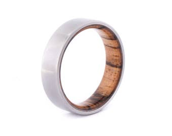 Zebrano Wood With Titanium Ring: Resin Coat. Wedding And Engagement. For Men And Women. Custom Made.