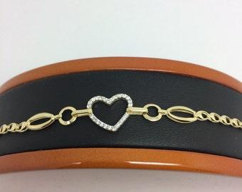 14K Yellow Gold CZ Heart Bracelet