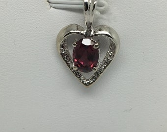 14K White Gold Natural Pink Tourmaline Heart Pendant