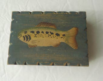 Wooden Playing Card Box Fish Midwest of Cannon Falls Fishing Distressed Shabby Chic Decor