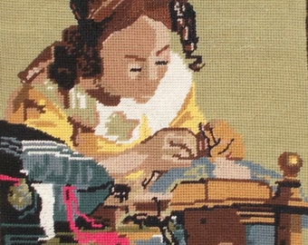 Vintage French Completed Needlepoint Tapestry 'Young Woman Sewing a Tapestry'  Perfect for new Creations. (5097s)
