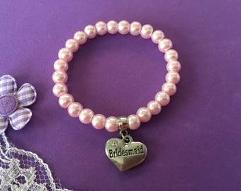 Bridesmaid / Flower Girl Charm Bracelet, Flower Girl Charm Bracelet, Bridesmaid Pearl Bracelet, Flower Girl Pearl Bracelet