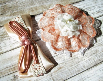 Barrette Girl gift Shabby Barrettes Hair accessory Hairpins White Peach-orange Barrette Hair Clips Bow barrette Daughter gift Hair Jewelry