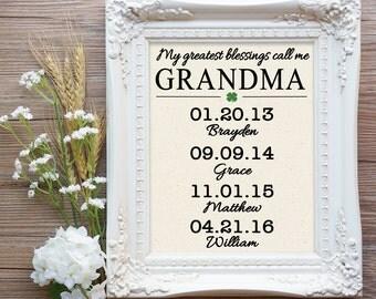 My greatest blessings call me Grandma Cotton Canvas, Irish Grandma Gift, Grandma Mother's Day Gift, Grandchildren names gift, Grammy Gift