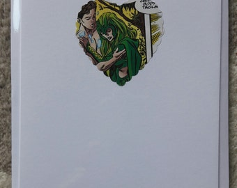 Recycled Vintage Comic Book 'Superhero' Comic Strip Heart Card - Valentine's Card - Superheroes - Classic Comic Memories