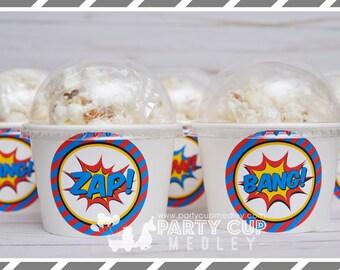 Super Hero Birthday Party-Treat Cups-Super Hero Popcorn Cups