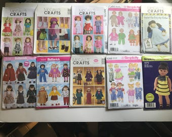 McCalls Simplicity Butterick 18 in and 15 in Doll Clothes Sewing Patterns Lot of 10 American Girl