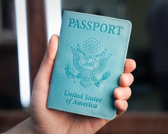 Turquoise Leather Passport Holder - Passport Cover - Passport Case