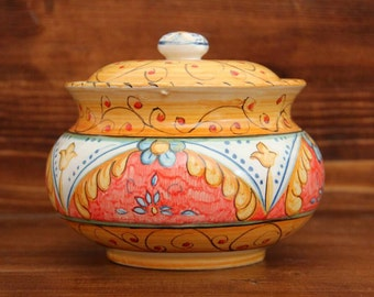 Ceramic cookie jar Container biscuits Vessels biscuits Kitchen containers red cookie jar  Artistic handpainted Italian majolica Italy cans