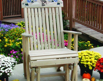 Unfinished Pressure Treated Pine High Back Hummingbird Glider Chair - Model#LUXF2HG - Amish Made in the USA - Free Shipping!