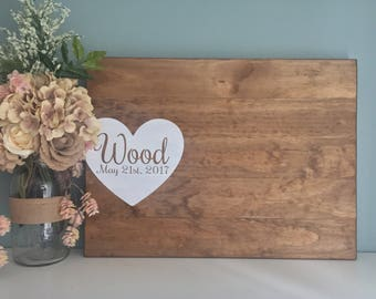 Rustic Wedding Guest Book Alternative / Painted Heart Guest Book / Wood Guest Book Rustic Wedding Decor Country Wedding Gift Name and Date