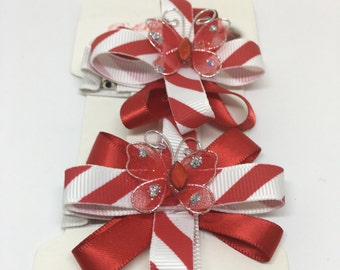 Candy Cane Flowers Hair Bow Set ~ Red Butterflies