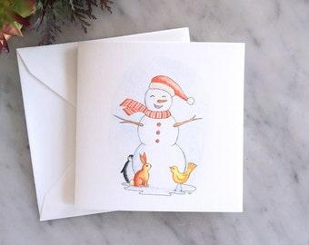 Greeting Card, Christmas Card, Illustration HAPPY SNOWMAN
