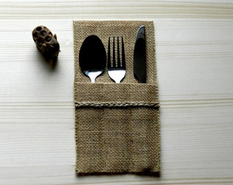 Cutlery pockets, Burlap Silverware Holders, Burlap cutlery holders, Burlap cutlery pockets, Rustic table decor. Set of 6.
