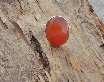 Black Friday Sale Orange Chalcedony Gemstone 925 silver Ring Size 7