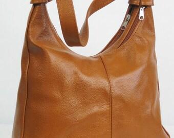 Brown LEATHER HOBO BAG, Tan Leather Bag, Camel Brown Shoulder Bag, Leather Hobo, Everyday Leather Shoulder Bag