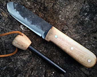 Kephart bushcraft knife with fire steel-bushcraft knife- hunting knife-survivial knife-full tang-kephart knife-handmade knife-fixed blade