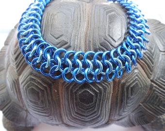 Chainmaille Bracelet and Earring set; Light Blue and Dark Blue Anodised Aluminium
