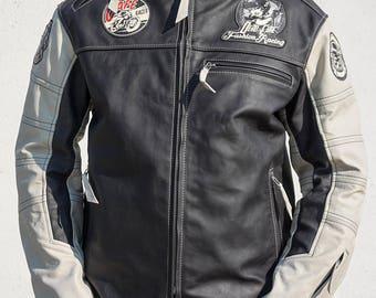Cafe racer leather jacket , custom men leather jacket, motorcycle leather jacket, biker leather jacket cafe racer, black leather jacket