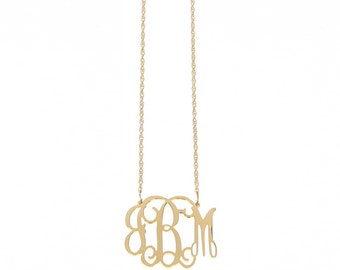 Medium Gold Plated Monogram Filigree Necklace - Interlocking Collection