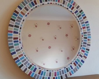Large Round Mosaic Wall Mirror Multi-Coloured 40cm Bathroom, Hall, Living Room *MADE TO ORDER *