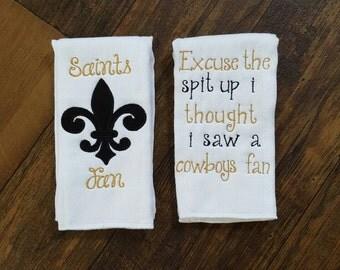 Baby burp rag set, saints fan, new Orleans Saints, fleur de lis, baby boy, baby girl,